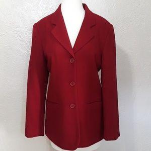 New York Clothing Co. Dark red wool blazer.